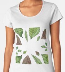 Watercolor Green Leaves Design Women's Premium T-Shirt