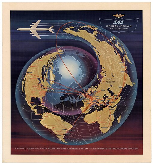 Scandinavian Airlines SAS Spiral-Polar Projection by vintagetravel