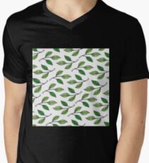 Watercolor Green Leaves Pattern T-Shirt