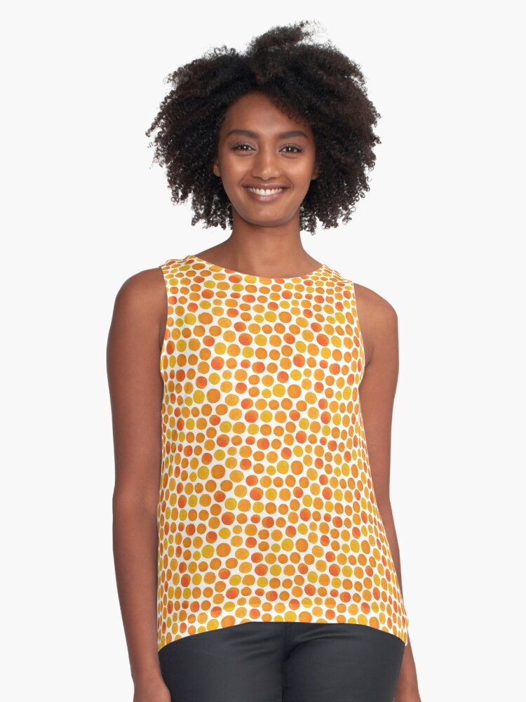 orange dotty dot dots Contrast Tank Front