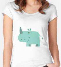 animals set - rhino Women's Fitted Scoop T-Shirt
