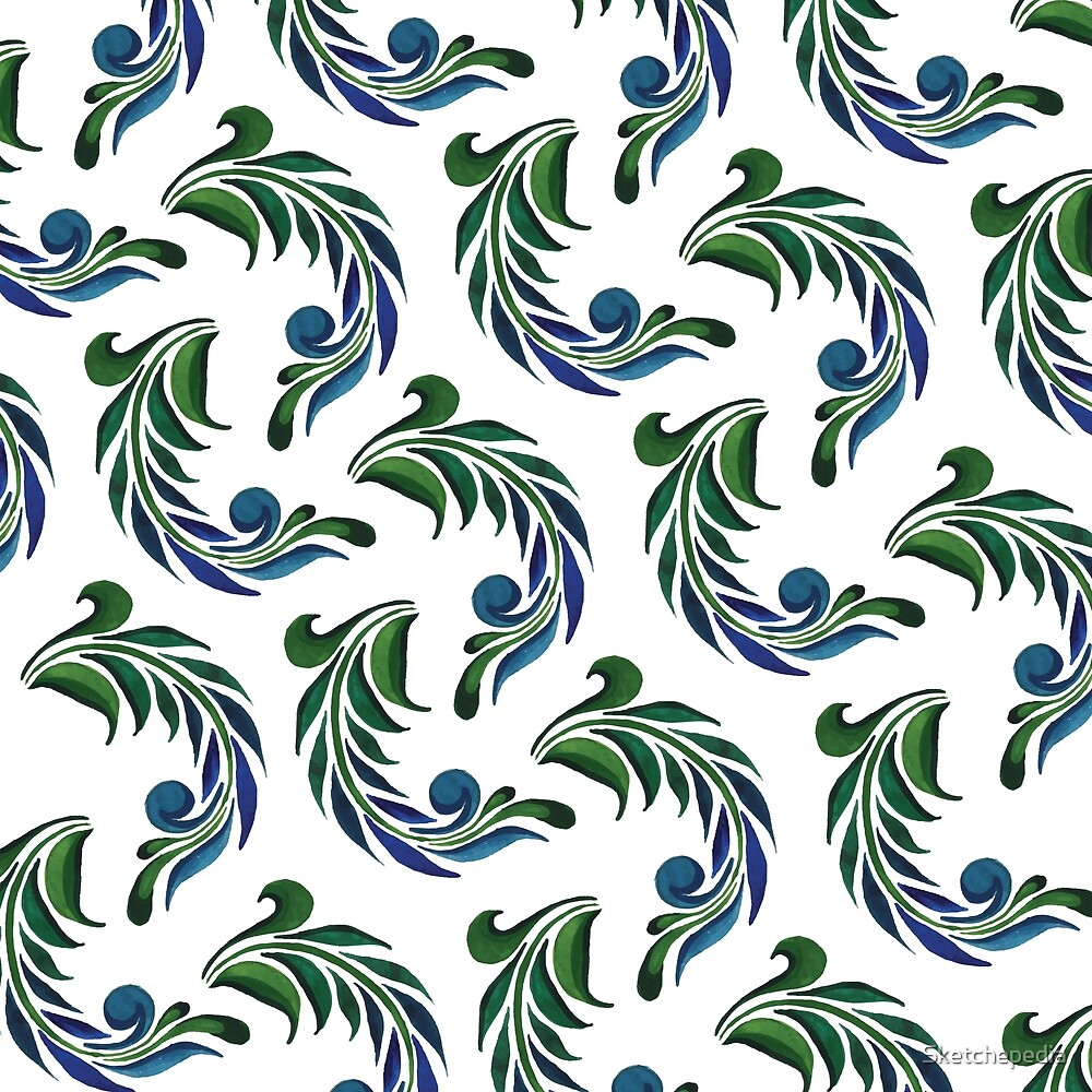 Blue And Green Watercolor Artistic Feather by Sketchepedia