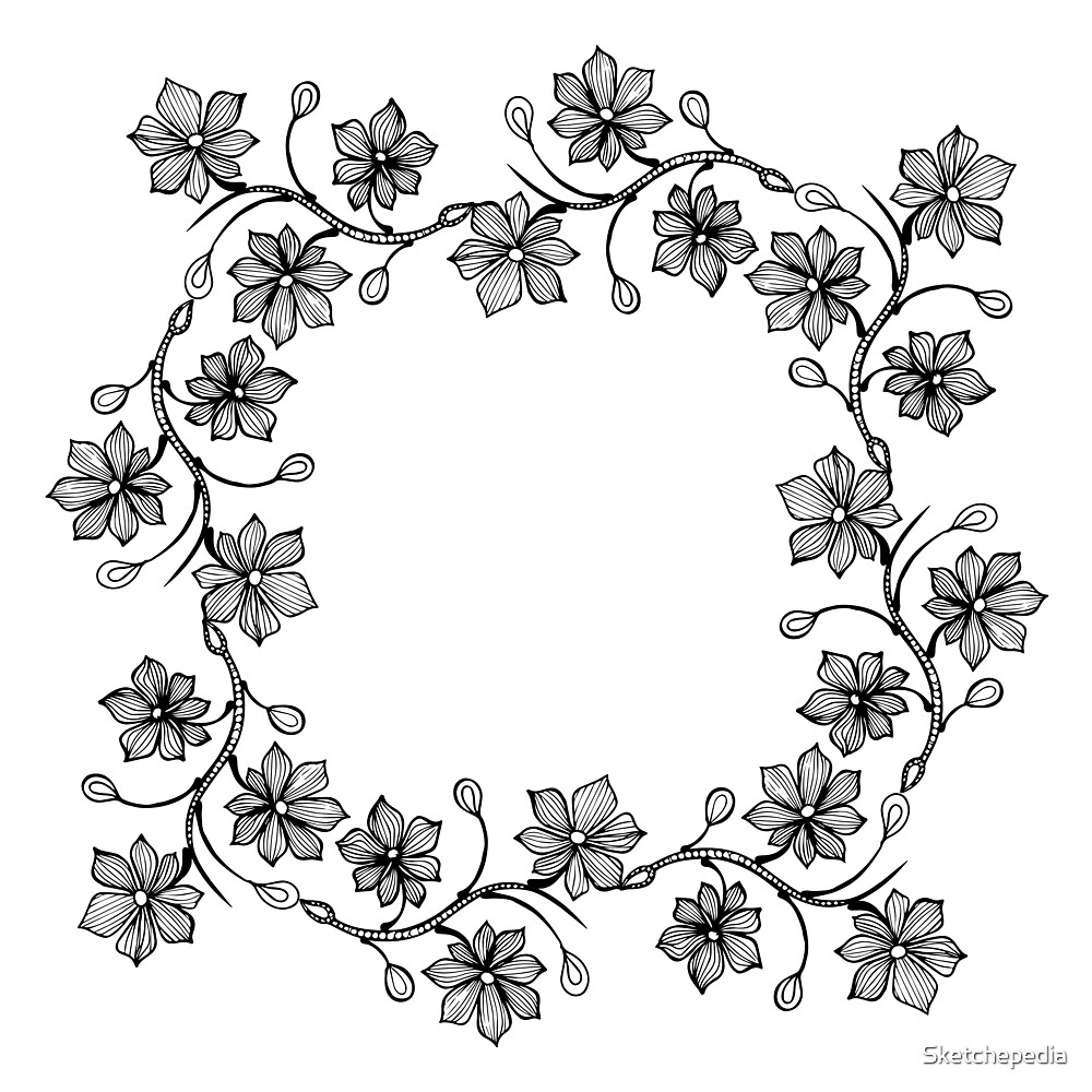 Black and White Floral Lineart Wreath by Sketchepedia