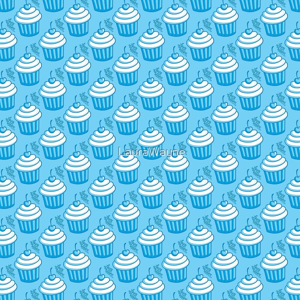 Cute Cupcake Pattern - Blue by LauraWayne