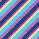 Summer fun Blue pink lime Colorful lines by PLdesign