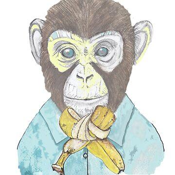 monkey wears banana bow-tie by yvonne-crayon
