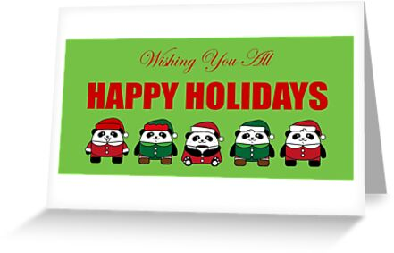 Pandas Wishing You All Happy Holidays Christmas by 108dragons