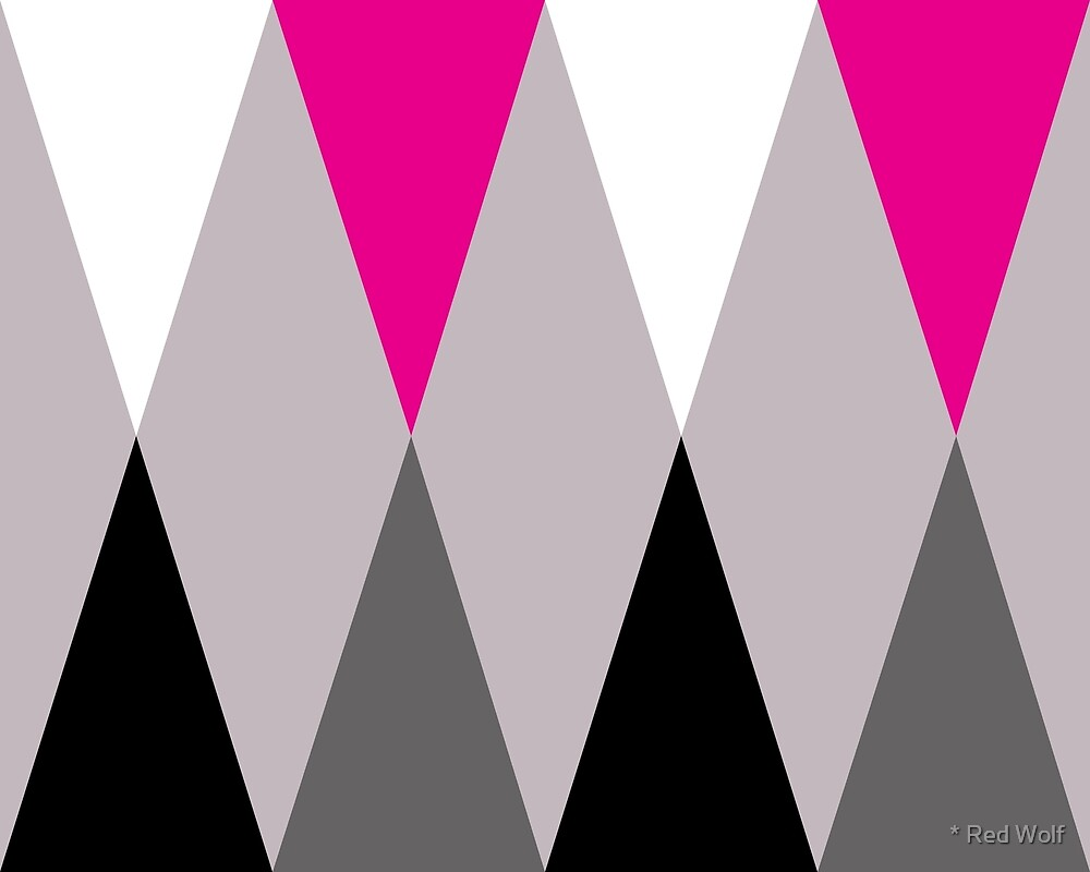 Geometric Pattern: Harlequin: Pink/Grey by * Red Wolf