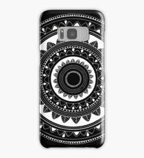Ukatasana white mandala on black Samsung Galaxy Case/Skin