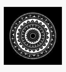 Ukatasana white mandala on black Photographic Print
