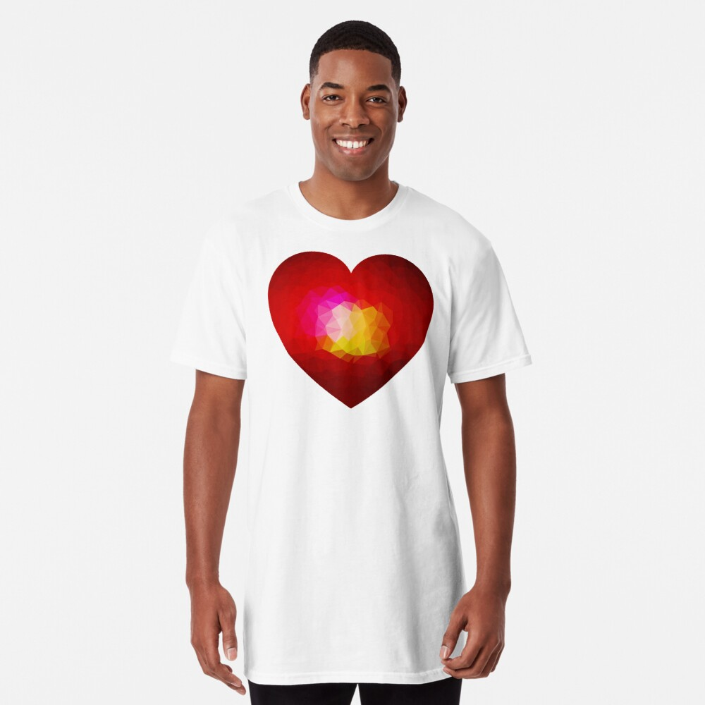 Red geometric burning heart Long T-Shirt Front