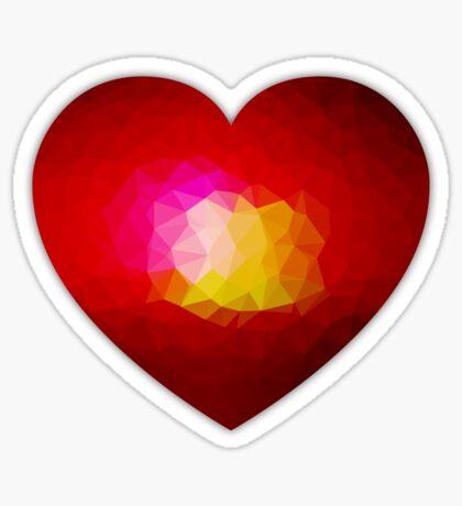 Red geometric burning heart Sticker