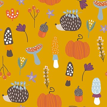Pumpkins, Porcupines and Mushrooms, Oh My! Fall Autumn pattern by lakeeffect