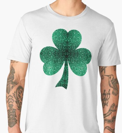 Emerald green shamrock clover sparkles Men's Premium T-Shirt