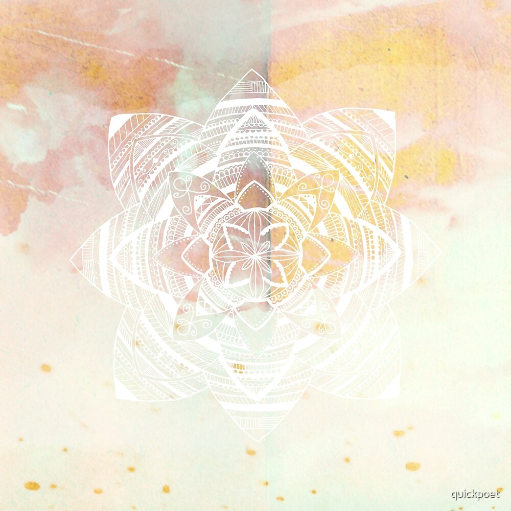 Wild white mandala on pink by quickpoet