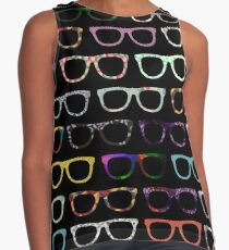 Retro Brille Hipster Muster Kontrast Top