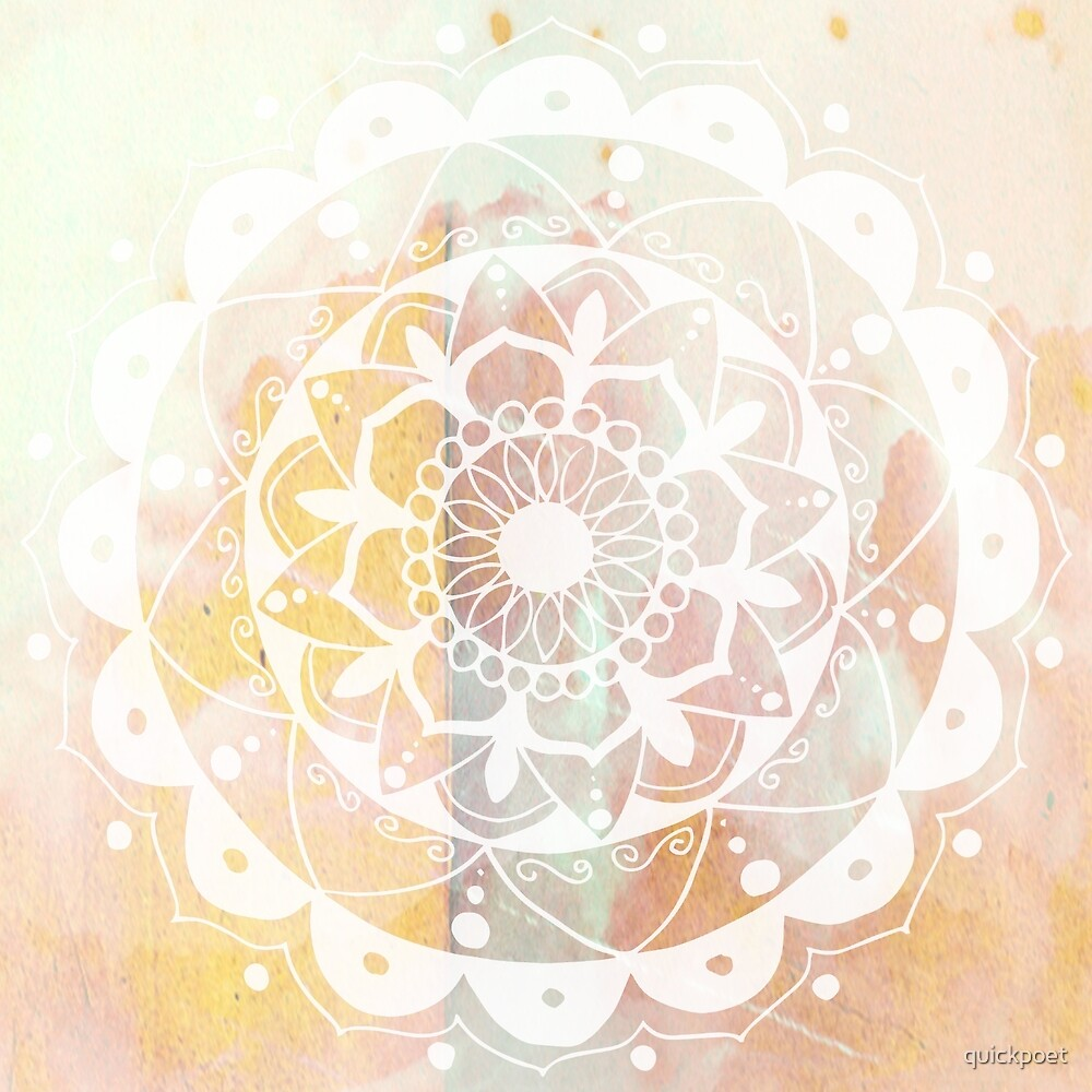 Zen white mandala on pink by quickpoet
