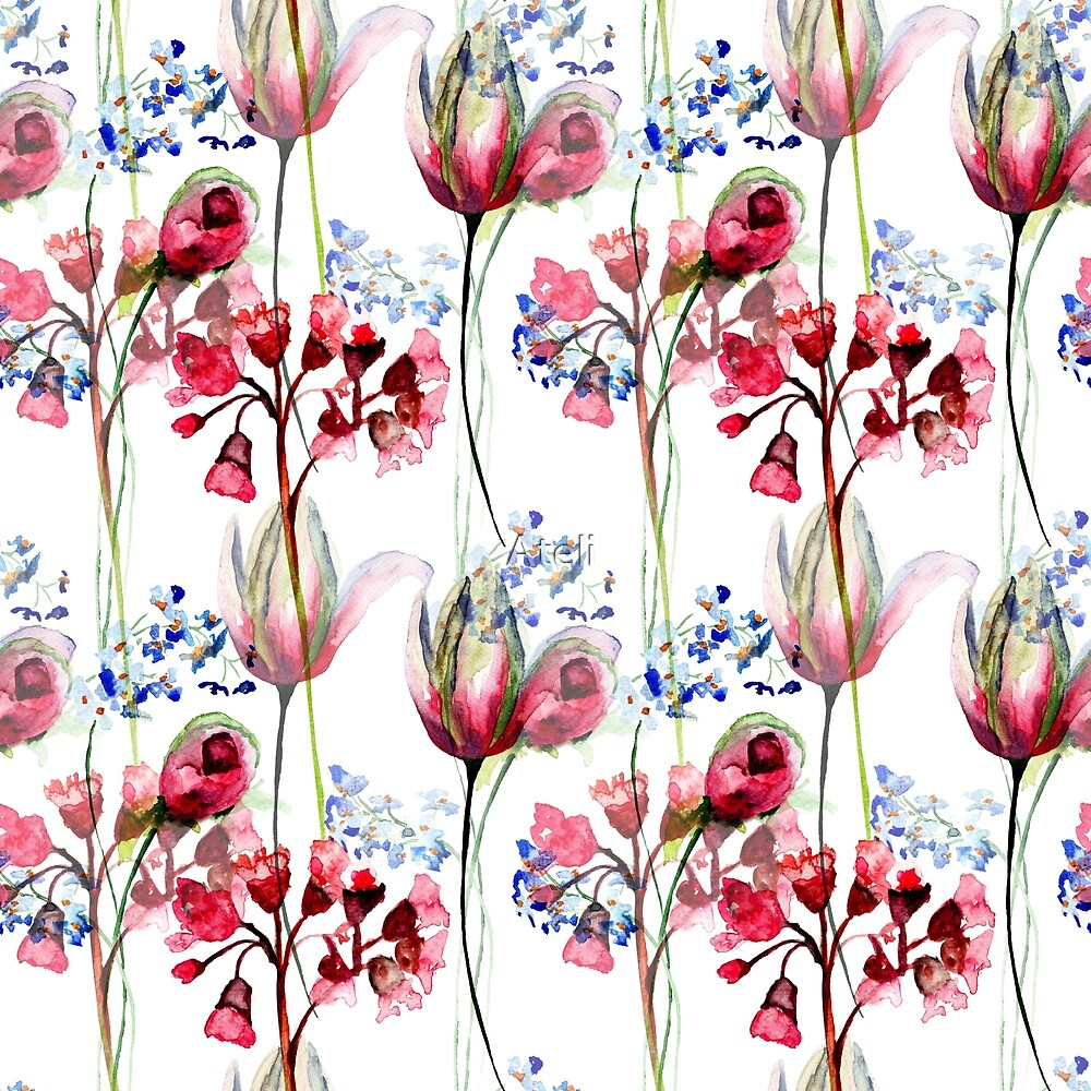 Seamless pattern with wild flowers by Ateli