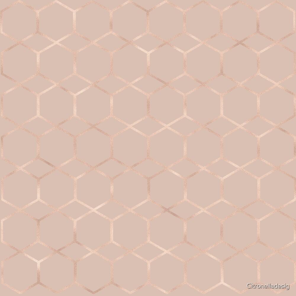 Modern rose gold geometric hexagon by Citronelladesig