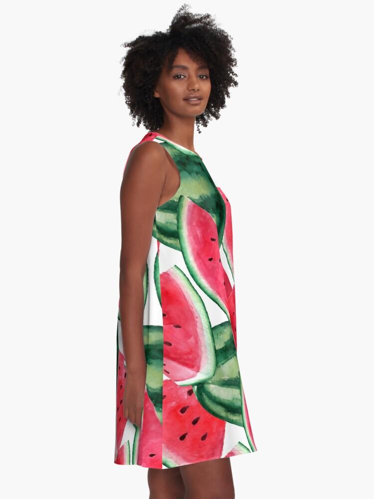Alternate view of Juicy watermelon. Watercolor Tropical Fruit A-Line Dress