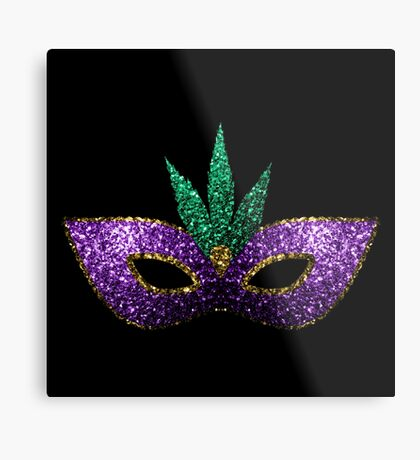 Mardi Gras Mask Purple Green Gold Sparkles Metal Print