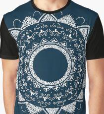 Precious white mandala on blue Graphic T-Shirt