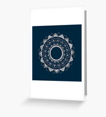 Precious white mandala on blue Greeting Card