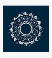 Precious white mandala on blue Photographic Print