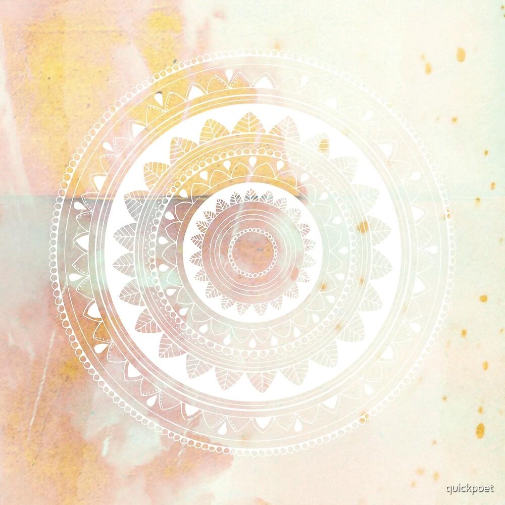 Ukatasana white mandala on pink by quickpoet