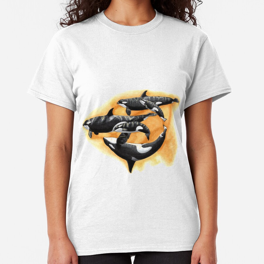 Kasatka and her offspring - Draw Every Captive Orca Project nr. 3 Classic T-Shirt