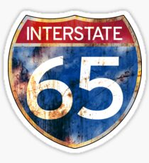 Interstate 65 US Highway Rusted Distressed Indiana Kentucky Alabama Sticker