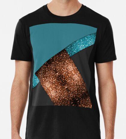 Aqua blue and bronze sparkles modern color block art Men's Premium T-Shirt