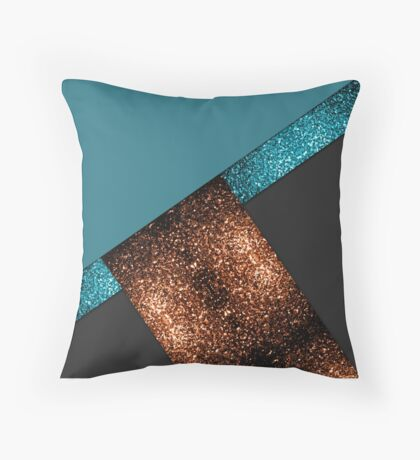 Aqua blue and bronze sparkles modern color block art Throw Pillow