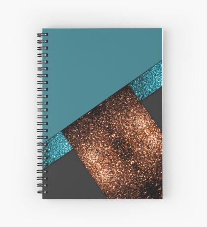 Aqua blue and bronze sparkles modern color block art Spiral Notebook