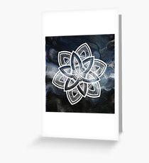 Authentic white mandala on sky Greeting Card