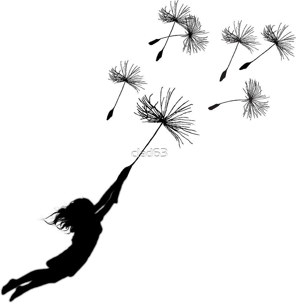 girl flying with dandelion by clad63
