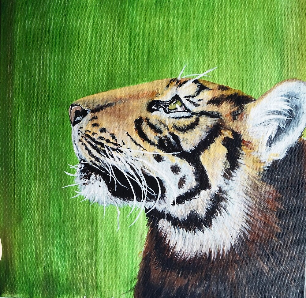 Tiger, acrylic paint on canvas by J-AlexanderArt