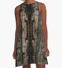 Cool Brown wood bark with yellow lichen pattern A-Line Dress