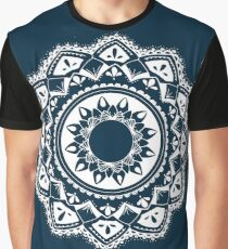 Warrior white mandala on blue Graphic T-Shirt