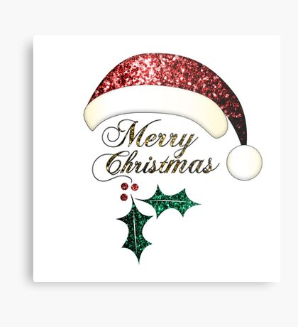 Merry Christmas Santa hat with red, gold and green sparkles Metal Print