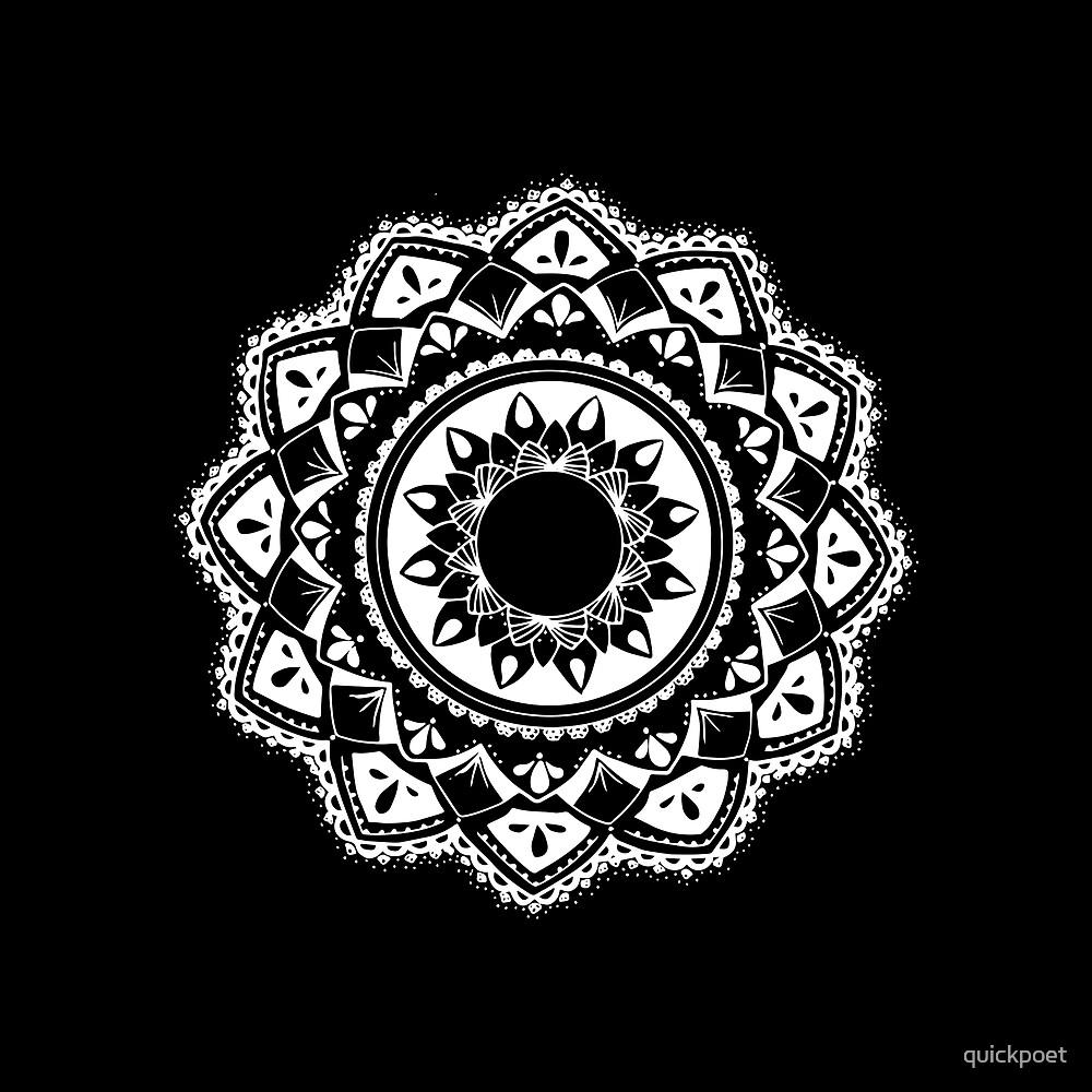 Warrior white mandala on black by quickpoet