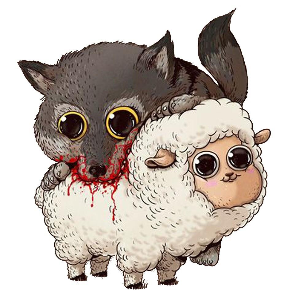 T-shirt wolf and sheep by RaizenSnow