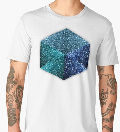 Hexagon blue sparkles geometric diamond Men's Premium T-Shirt