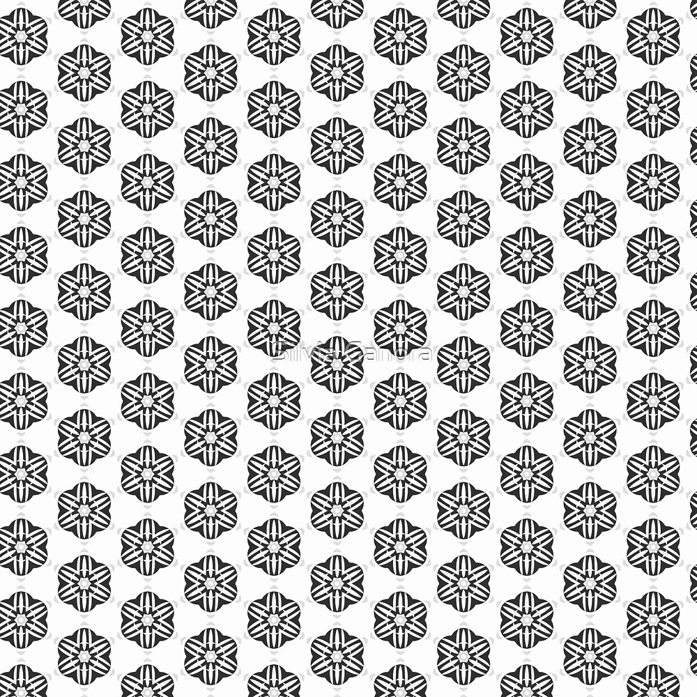 Black and white fleurons pattern by Silvia Ganora
