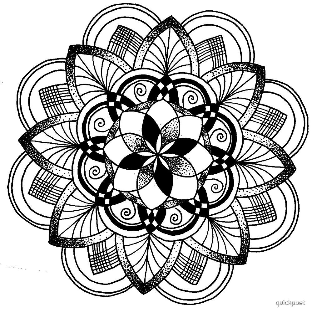 Lotus black mandala on white by quickpoet