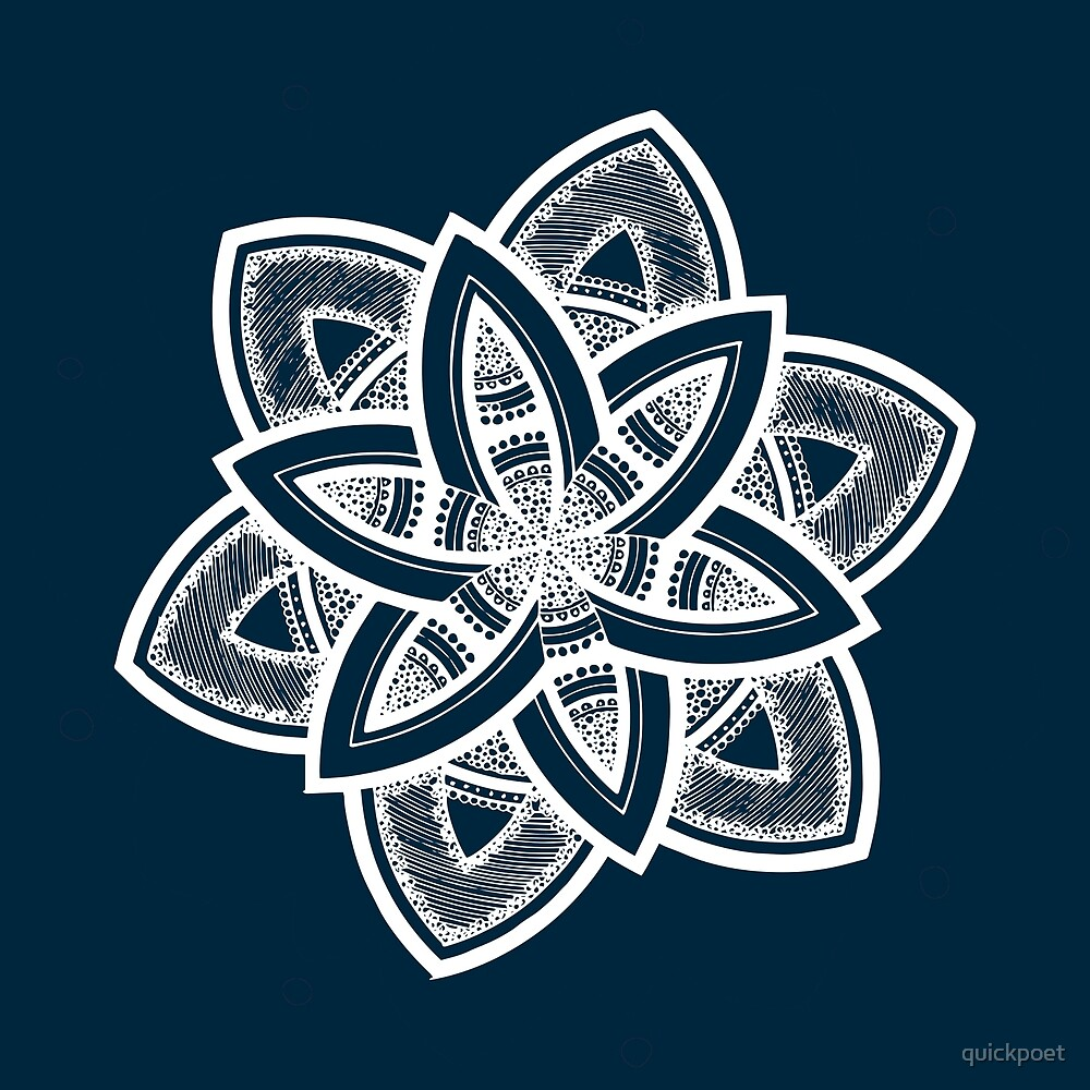 Authentic white mandala on blue by quickpoet
