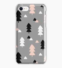Winter Forest in Pink, Black, White and Gray iPhone Case/Skin