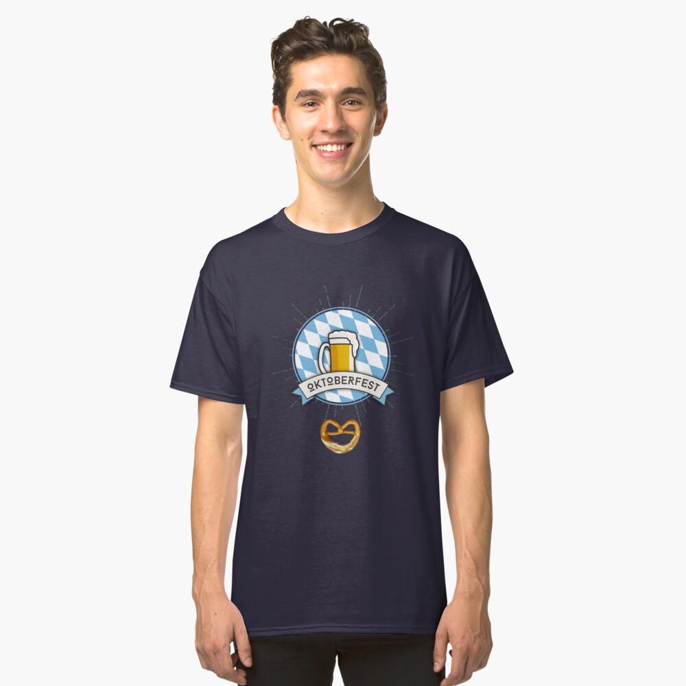 oktoberfest bavaria flag blue white costume dirndl beer anstich wiesn bavaria munich beer garden drink chest decollete sexy humor joke costume disguise Classic T-Shirt Front