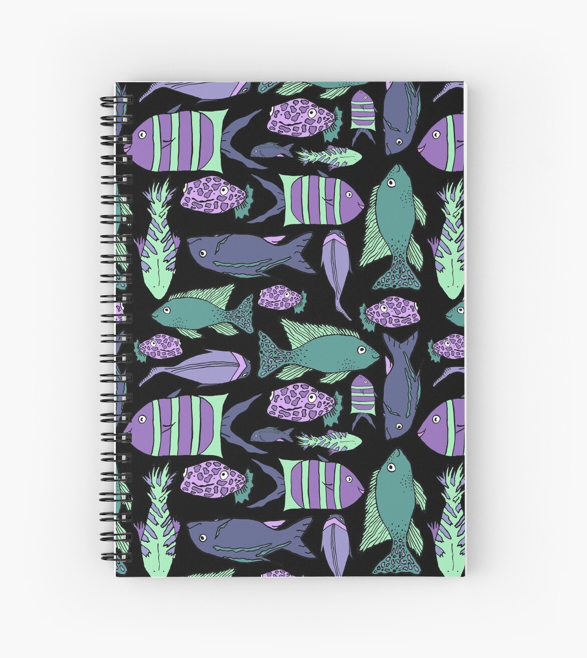 Groovy Fish - Black and Green by mkrowntree