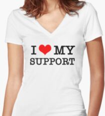 I Love My Support Women's Fitted V-Neck T-Shirt